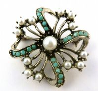 Vintage Dorene Faux Pearl And Turquoise 50's Brooch